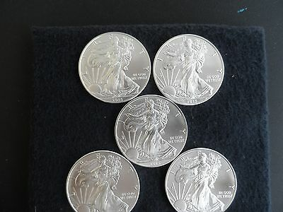 LOT OF 5-2015 AMERICAN SILVER EAGLE  - BRILLIANT UNCIRCULATED