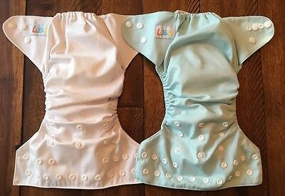 Set Of 2 LBB Cloth Reusable Pocket Diapers  With Inserts White - Baby Blue