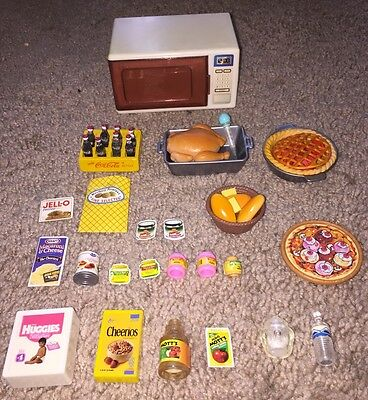 Lot of Vintage Barbie Doll Accessories- Foods Drinks Baby Items And Microwave