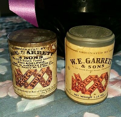 VINTAGE LOT OF 2 W-E- GARRETT - SONS SCOTCH SNUFF CONTAINERSSEALED