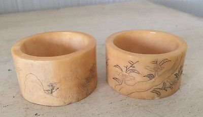 Pair Of Antique Carved Bovine Bone Chinese Napkin Rings China Vintage