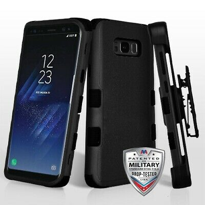 Samsung GALAXY S8 Plus Hybrid Armor Rugged Hard Case Cover Holster Screen BLACK
