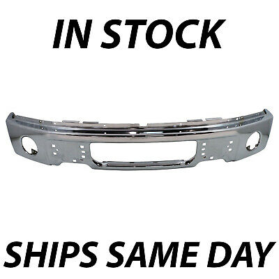 NEW Chrome - Steel Front Bumper Face Bar for 2009-2014 Ford F150 Pickup w Fog