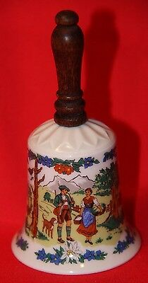 Fine Bavarian Porcelaiin Alpine Bell with Wooden Handle