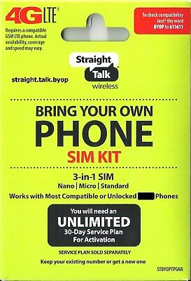 Straight Talk SIM Card  AT-T Verizon T-Mobile  Activation 4G LTE SIM Card kit