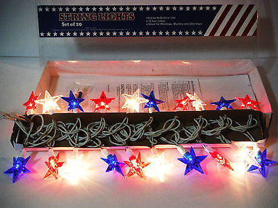 4TH OF JULY- PATRIOTIC DECOR STRING LIGHTS 20CT 12FT- STARS RED WHITE BLUE