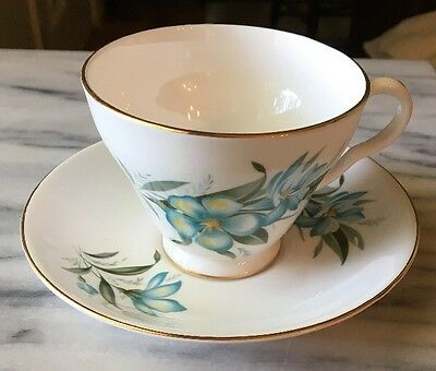 Royal Grafton Bone China Turquoise Floral Cup - Saucer Numbered 5387