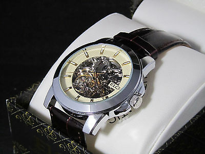 NEW MENS ELGIN AUTOMATIC MECHANICAL SILVER SKELETON FACE WATCH FG7081