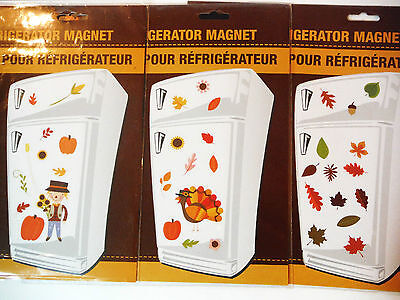 THANKSGIVING FALL-MAGNETS 3 CHOICES SCARECROWLEAVES OR TURKEY-