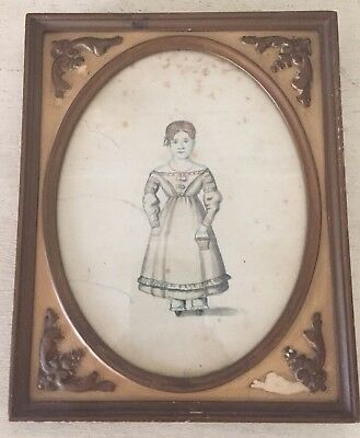 Antique 1850 Watercolor Portrait Signed Folk Art Americana Early Painting