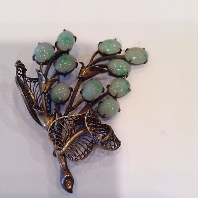 Exquisite Antique Chinese Silver - Jade Brooch