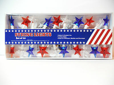 4TH OF JULY- PATRIOTIC DECORATION STRING LIGHTS 20CT 12FT- STARS RED WHITE BLUE