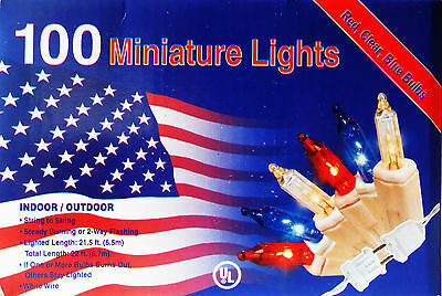 4TH OF JULY-MINI LIGHTS-100CT 22FT-PATRIOTIC DECOR-RED CLR BLUE-SMART BULB TECH