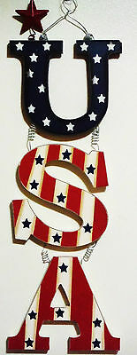 4TH OF JULY PATRIOTIC WOODEN U-S-A- HANGER- PATRIOTIC RED WHITE - BLUE wSTARS 1