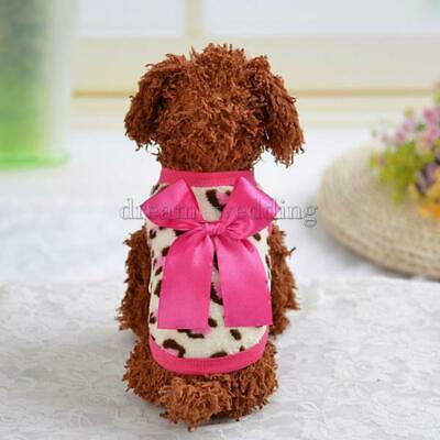 LOVELY LEOPARD DESIGN BOWKNOT PUPPY KLEIDUNG HUND OUTFIT SOFT CORAL VLIES