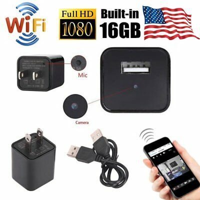 Mini WIFI 1080P Hidden Spy Camera 16GB Wall Charger Wireless HD USB Nanny Cam US
