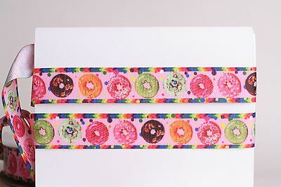 COLORFUL DONUTS PINK 78 Grosgrain Ribbon 1 3 5 10 Yards SHIP FROM USA