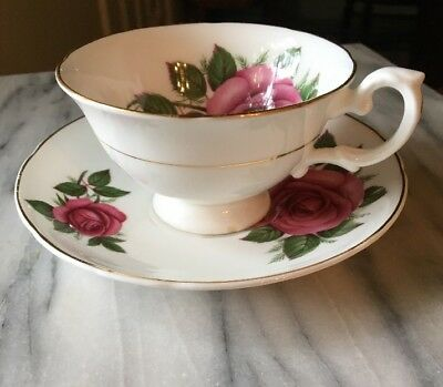 Royal Grafton England Dark Pink Rose INSIDE Footed Cup - Saucer