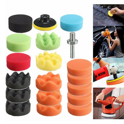 19PCS 3 Inch Polishing Pad Sponge Buff Buffing Kit Set For Car Polisher 80mm