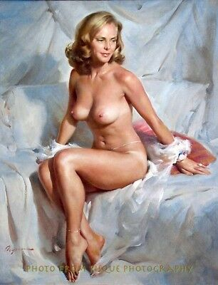 Older Woman Nude Portrait 8-5x11 Photo Print Lovely Female Gil Elvgren Pin-up