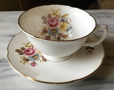 Royal Grafton England Bone China Cup - Saucer Pink Blue Yellow Gold Tan Floral