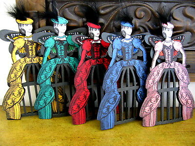 Handmade Lot 5 Victorian Cage Doll Tree Ornaments Santos Art Style Paper Pieced