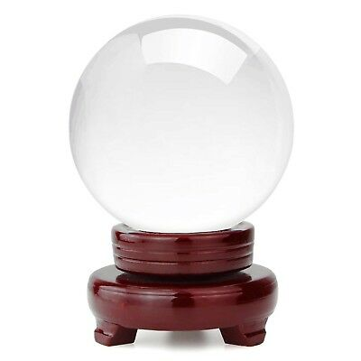 HBlife Clear Crystal Ball 5 Inch 130mm Including Wooden Stand and Gift Pack