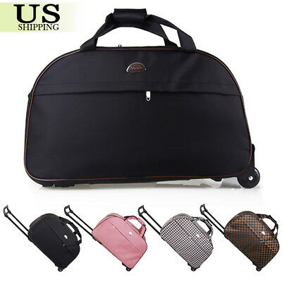 24 Rolling Wheeled Duffle Trolley Bag Tote Carry On Travel Suitcase Luggage