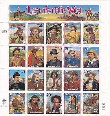 U-S- COMM PANE OF 20 SCOTT2869 1994 29ct LEGENDS OF THE WEST MNH PS11111 FACE