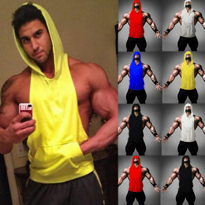Mens Bodybuilding Stringer Workout Gym Hoodie Tank Top Fitness Hooded Shirt Vest