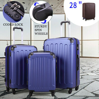 BHC 3 Pcs Luggage Coded Lock Travel Set Bag ABS-PC Trolley Suitcase Deep