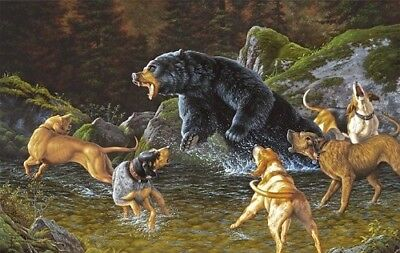 Troubled Waters by Tom Mansanarez Bear Hound Print 30x21-5