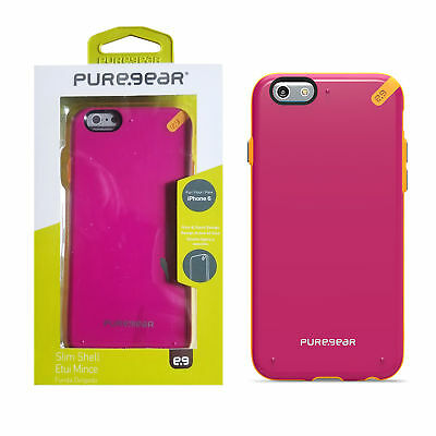 PureGear Slim Shell Pink Protective Hybrid Cover Case for Apple iPhone 6 6s 4-7