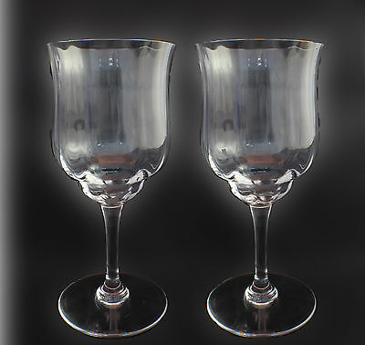 Set of Two BACCARAT CAPRI CRYSTAL CLARET OPTIC WINE GLASSES 6 - Signed