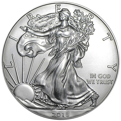 2018 SILVER AMERICAN SILVER EAGLE 1 - UNCIRCULATED - 1 OZ- -999 SILVER COIN