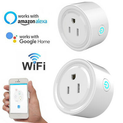 2pcs Smart WiFi Plug Outlet Swtich work with Echo Alexa Google Home APP Remote