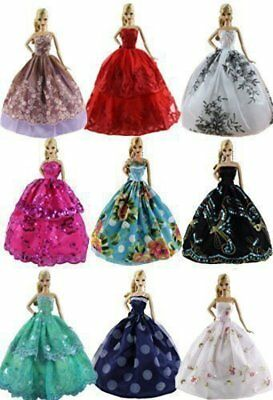 6pcsLot  Fashion Princess Dresses Outfits Party Wedding Clothes for Barbie Doll