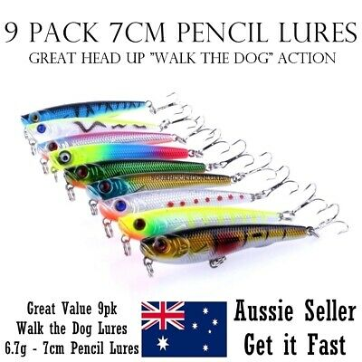 9 Fishing Pencil Lures Stick Bait Popper Topwater Hard Body Surface Fishing Lure