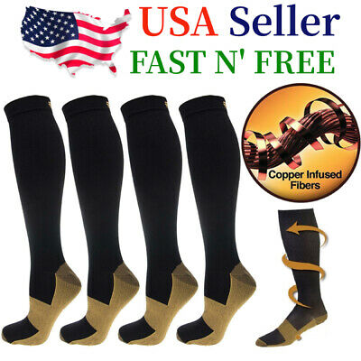 4 Pairs Compression 20-30mmHg Support Socks Relief Miracle Calf Mens Womens