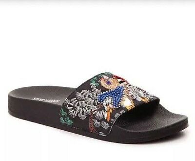 Women Steve Madden Sparkly Black Multi Casual Slip On SandalSlide