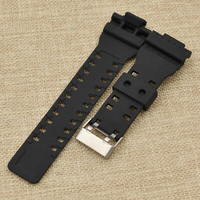 Silicone 16mm Black Watch Band Strap Shock Replacement Unisex Fashion Jewelry