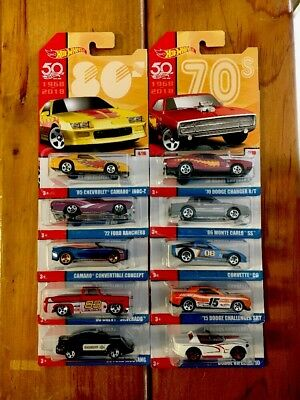 HOT WHEELS NEW THROWBACK SERIES 50TH ANNIVERSARY 1968-2018 SET OF 10 SEE PICS