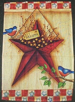 Rustic Star Bluebird Patriotic Welcome 4th of July 12 x 18 Garden Flag New