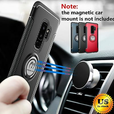 For Samsung Galaxy S9S8- Plus Ring Holder Shockproof Rugged Armor Case Cover