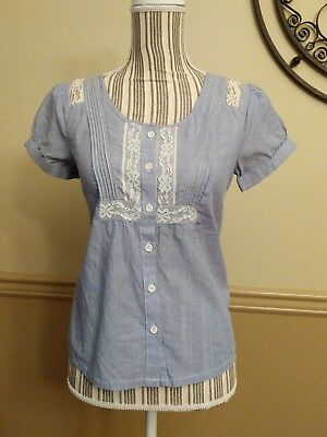 AMERICAN EAGLE OUTFITTERS Blue White Stripe Blouse Cuffed Short Sleeve Lace XS