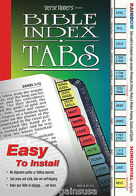 Rainbow Bible Index Tabs Book Labels - LONG LASTING Full Set - EASY to Install