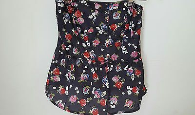 American Eagle Outfitters Dark Floral Print Peplum Tube Top sz M