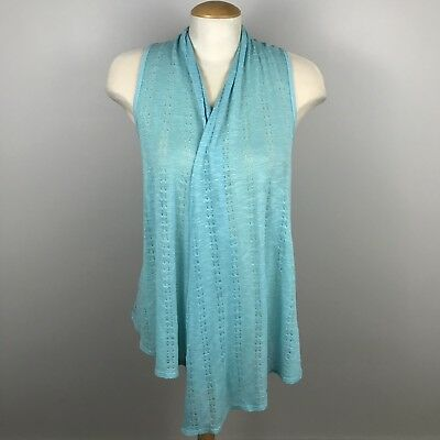 Wet Seal Womens Size Medium Blue Sleeveless Open Knit Cardigan Sweater Knot Back