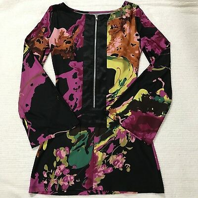 Floral Wet Seal Dress Long Flare Bell Sleeve Short Mini Dress Tunic Blouse XS SM