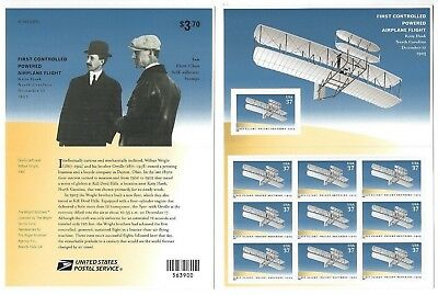 Scott 3783  37c FIRST CONTROLLED AIRPLANE FLIGHT  Sheet of 10 stamps MNH